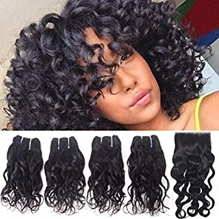 Refeeny Human Hair Brazilian Curly Weave 4 Bundles With Closure (12 12 12 12+12) Lace Free Part Virgin Unprocessed Remy 100 Hair Extensions Italian Curl Natural Black Color ¡