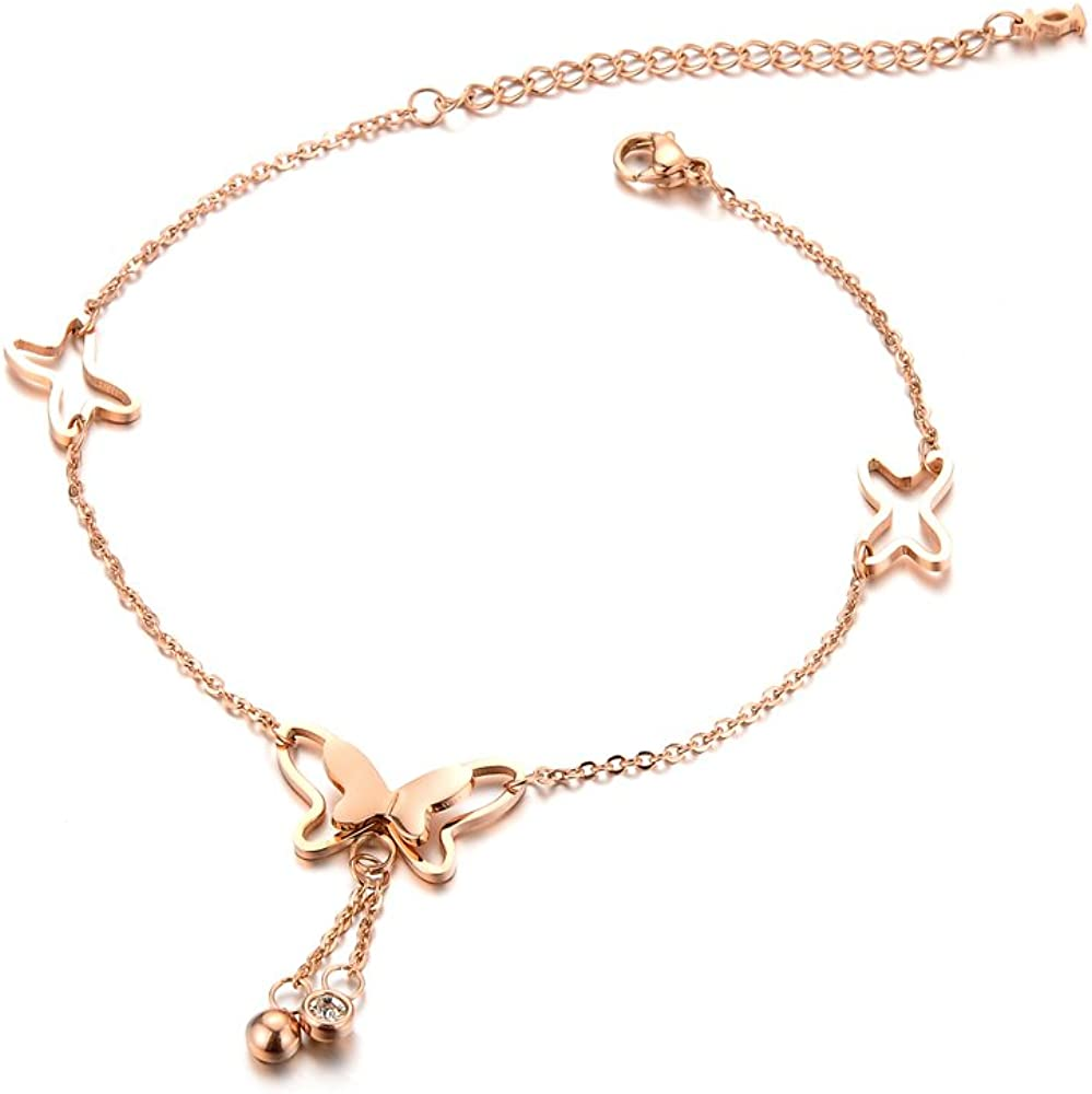 Stainless Steel Butterfly Rose Gold Cuban Links Bohemian Style Anklet GZ002