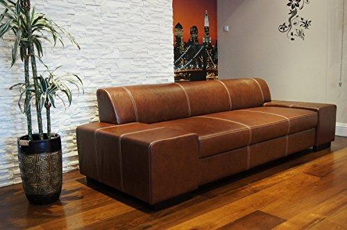 Quattro Meble Super Lange Echtleder 3 Sitzer Sofa London Breite 238cm Ledersofa Echt Leder Couch...