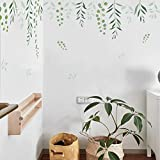 Summer Fashion Green Leaves Vine Wall Stciker Salón Decoración Creativa DIY 2 Unids/set