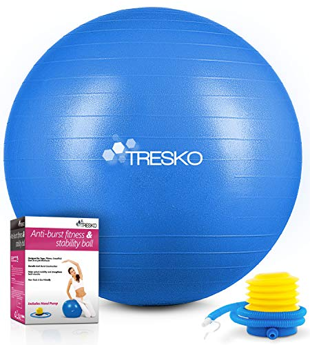 TRESKO® Pelota de Gimnasia Anti-Reventones | Bola de Yoga Pilates y Ejercicio | Balón para Sentarse | Balon de Ejercicio para Fitness | 300 kg | con Bomba de Aire | Azul | 65cm