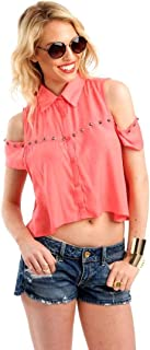 Hipster Y2P8061-M Shirt Top For Women - M, Coral