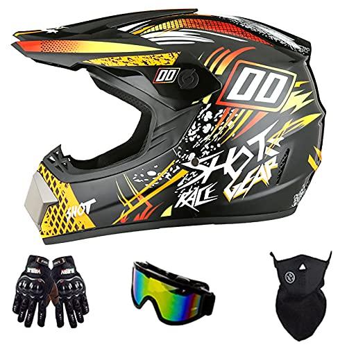 Casco De Motocross para Adultos, con Gafas Guantes Protector Facial Bicicleta De Montaña para Jóvenes Casco Integral A Prueba De Choques Certificación De Seguridad Dot