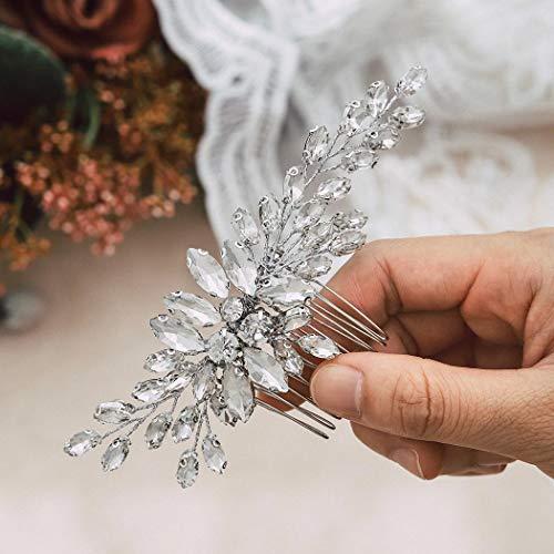 Handcess Kristall Braut Hochzeit Haarkämme Silber Blätter Kopfschmuck Strass Braut Haarschmuck für Frauen und Mädchen
