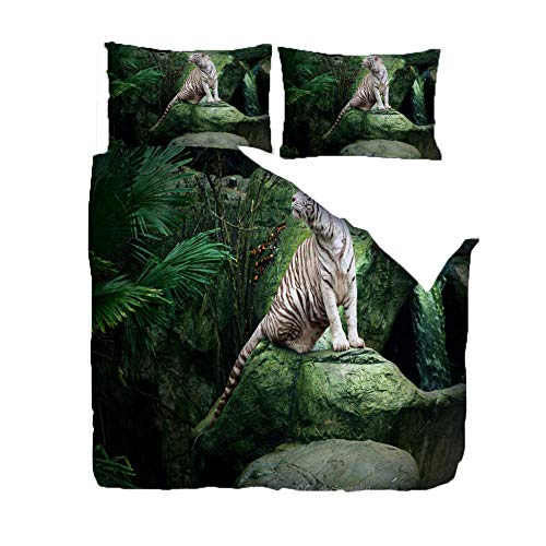 QDDRL 3-Piece Bedding Sets 260x220 CmForest Animal White Tiger With Zipper Closure Ultra Soft Microfiber Duvet Cover for Adult, Kids And Teens, With 2 Pillowcases