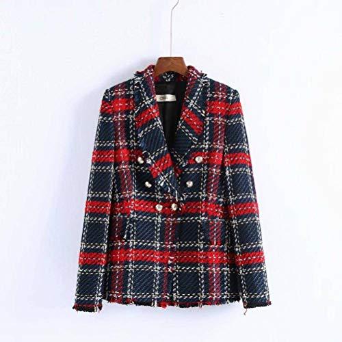W-C Lente Dubbele Borst Tweed Plaid Blazer, Foto Kleur, L
