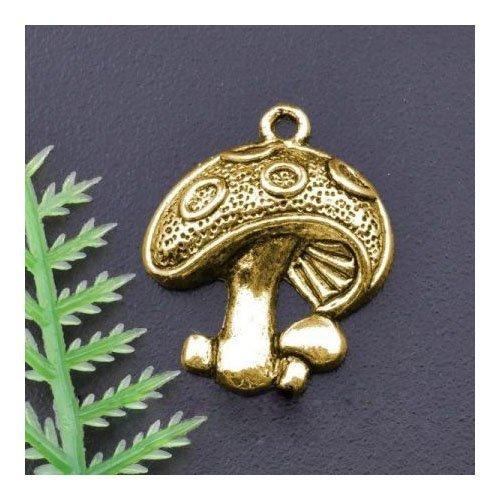 Charming Beads Paket 10 x Antik Gold Tibetanische 23mm Charms Anhänger (Pilz) - (ZX01705)