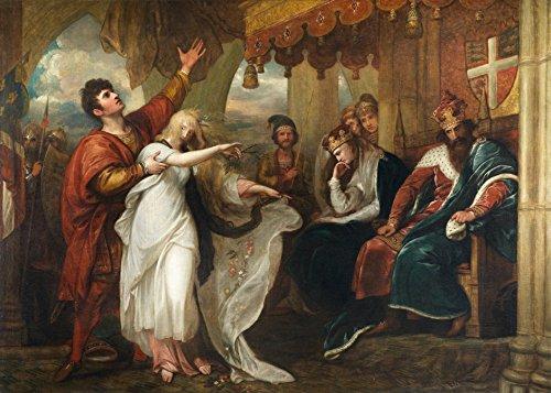 Hamlet Ato IV Cena V Ofélia e Laertes Teatro William Shakespeare 1792 Pintura de Benjamin West na Tela em Vários Tamanhos (55 cm X 40 cm tamanho da imagem)