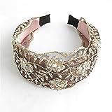 MultiKing Diademas pelo banda Turbantes Headwrap Hair Band Hairband Ancho encaje pedrería diamantes tela de ala ancha multicolor F