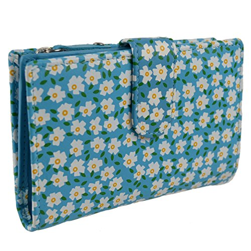 Ladies Medium Tab Leather Floral Purse/Wallet by Mala; Juniper Collection (Blue)