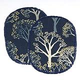 Hosenflicken Bäume gold metallic blau 2 große Knieflicken 12 x 10 cm zum Aufbügeln große Wald Flicken zum aufbügeln gold Märchenwald
