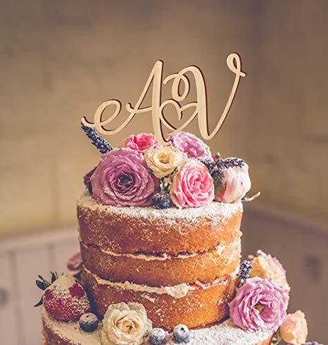 Topper per torta nuziale con lettere iniziali topper per torta nuziale, decorazione per torta color oro, argento