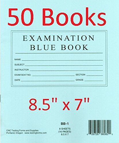 TestingForms.com 8.5' x 7' Examination Blue Book 8 Sheets 16 Pages 50 Booklets