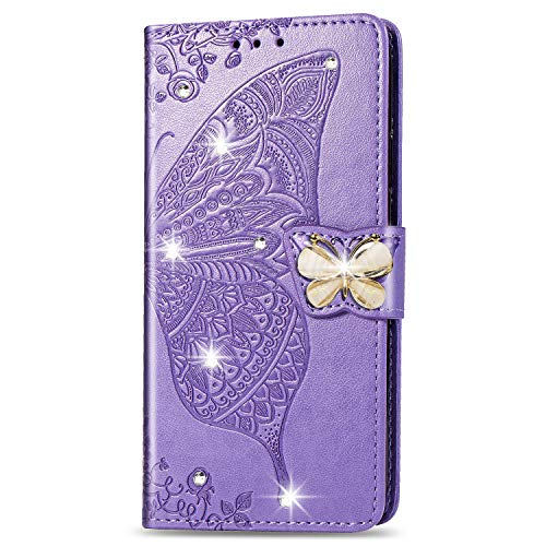 HMTECH Huawei Y6 2019 HulleHuawei Y6 2019 Handyhulle Pragung Diamant Schmetterling Blumen Flip Case PU Leder Cover Magnet Schutzhulle Handytasche fur Huawei Y6 2019SD Bling Butterfly Purple