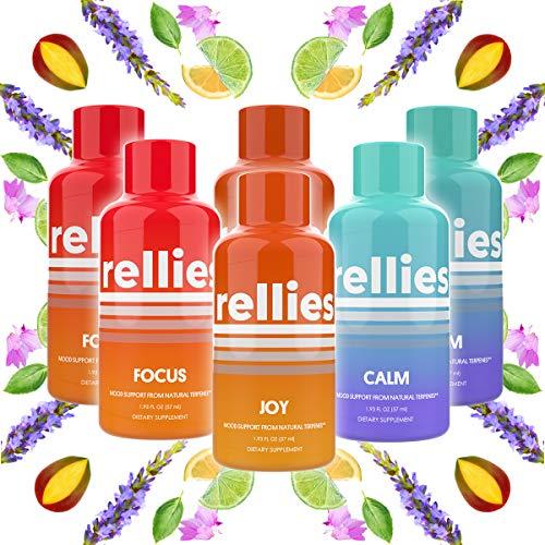 Rellies Calm, Joy & Focus Terpene Mood Support Supplement Shots (Variety Pack: 2 Shots of Each) Natural Terpenes