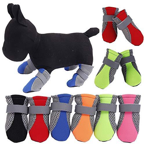 NEWSIHUI 4 Sets Huisdier Mesh Schoenen, Teddy Zachte Bodem Puppy Schoenen Geschikt voor Lente en Zomer Wandelen Running Hond Sokken (M)