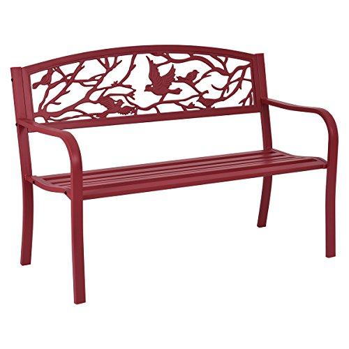 Giantex Patio Garden Bench Park Yard Outdoor Furniture Cast Iron Porch Chair (Red)