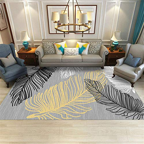 Kunsen Teppich groß Grauer moderner Teppich Wohnzimmer Schlafzimmer Dekoration schmutzabweisend und rutschfest Teppich esszimmer Baby kinderzimmer 120x160cm 3ft 11.2' X5ft 3'