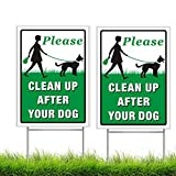 BOSICAN Please Clean Up After Your Dog Sign 2 Pack, 12'X9' Corrugated Plastic Yard Sign with Metal Wire H-Stakes Included, Easy to Mount, Double Side Available,No Pooping Dog Lawn Signs(2Pack)
