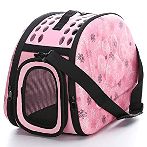 Foldable Pet Dog Cat Carrier Cage Collapsible Travel Kennel – Portable Pet Carrier Outdoor Shoulder Bag for Puppy Dog Cat Small Medium Large Animal (M, Pink)