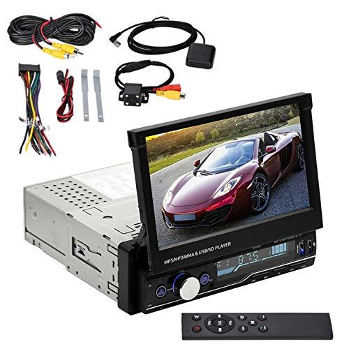 Reproductor de vídeo para Coche de 7 Pulgadas, vídeo Bluetooth para Coche con Pantalla táctil capacitiva retráctil telescópica y cámara de visión Trasera