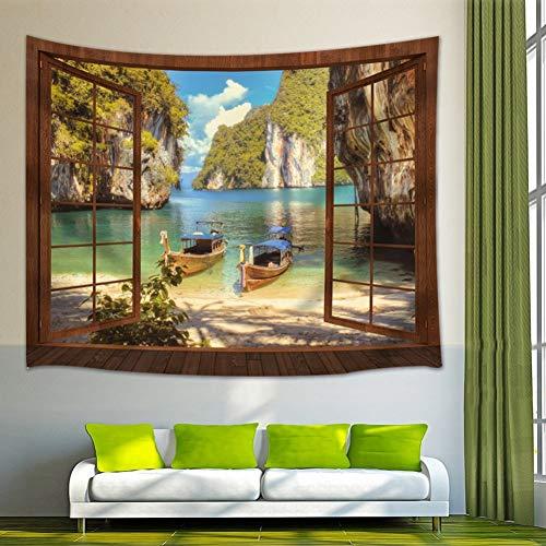 GUDOJK Tapijt, Ocean Scene Tapijt, wandtapijt, Summer Scene Island Long Tail Boot wandtapijt, voor slaapkamer, woonkamer, woonkamer, 130 cm x 150 cm