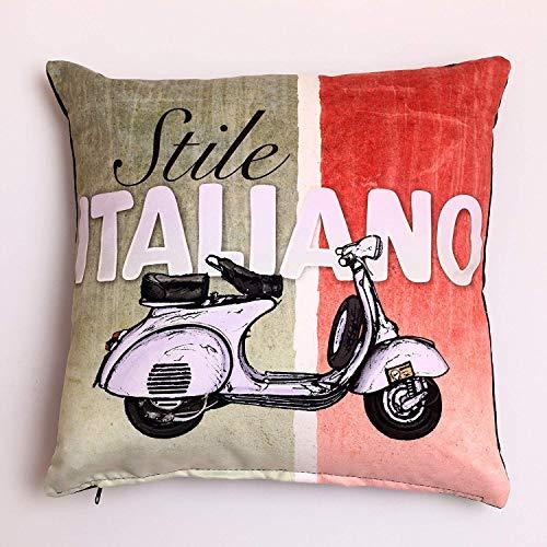 Italien Vespa Kissenbezug Deko Kissenbezug Kissenbezug aus Baumwolle mit Cotton klarer Canap 谷/Sofa/beleuchtet/Bett/Stuhl/Auto 18 x 18 Zoll (Italien)