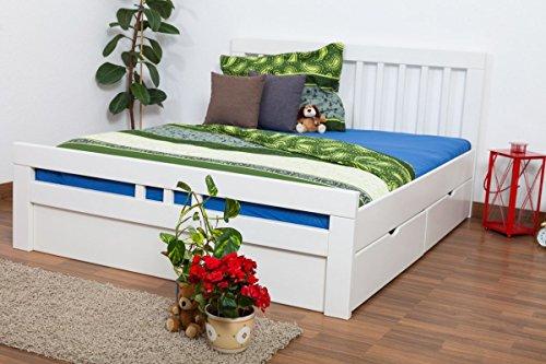 Doppelbett/FunktionsbettEasy Premium Line K8 inkl. 2 Schubladen und 1 Abdeckblende, 160 x 200 cm Buche Vollholz massiv weiß lackiert