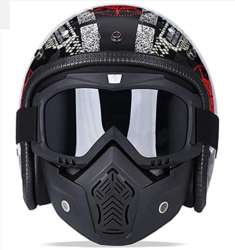 HYRGLIZI Casco de Motocicleta para Hombres y Mujeres, Casco Abierto con máscara Protectora, certificación Dot/ECE, Motocicleta, Scooter, ciclomotor, Casco Retro de Media Cara 5, XL = (61~62 CM)