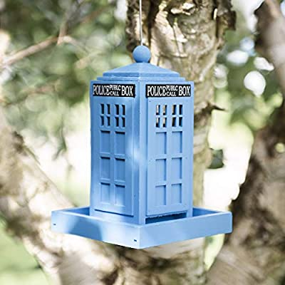 garden mile® Novelty Hanging Wild Bird Feeders for the Garden | Blue Police Public Call Box Bird Feeding Station for Bird Seed and Peanuts | Cute Garden Decorations from Garden Mile®