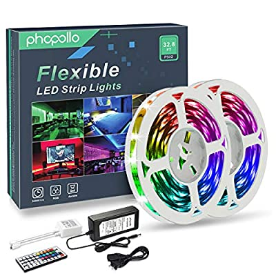 PHOPOLLO LED Strip Lights, 32.8ft RGB Color Changing 5050 300LEDs Non-Waterproof Flexible LED Tape Light Kit with 44 Key IR Remote Controller and 12V Power Supply for Room, Bedroom and Kitchen