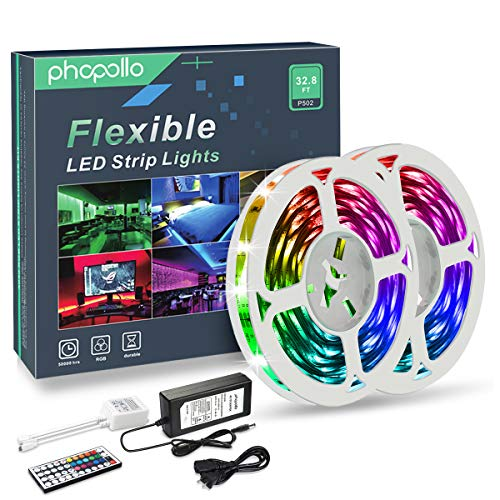 PHOPOLLO LED Strip Lights, 32.8ft RGB Color Changing LED Lights Strip, 5050 Flexible LED Tape Light with 44-Key IR Remote Controller and 12V Power Supply, Ideal for Bedroom Home and Holiday Decoration