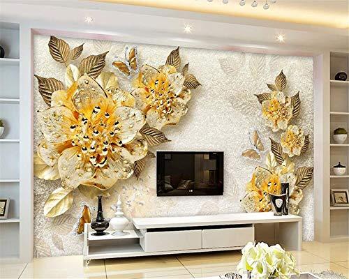 Fototapete Individuelle Fototapete Gold hochwertige Diamant Blume Schmuck Hintergrund Fototapete für Wände 3 d Papel Fototapete-208X146CM