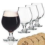 Libbey birra in vetro stile belga Stemmed Tulip–453,6gram Lambic birra in vetro–Set di 4W/sottobicchieri