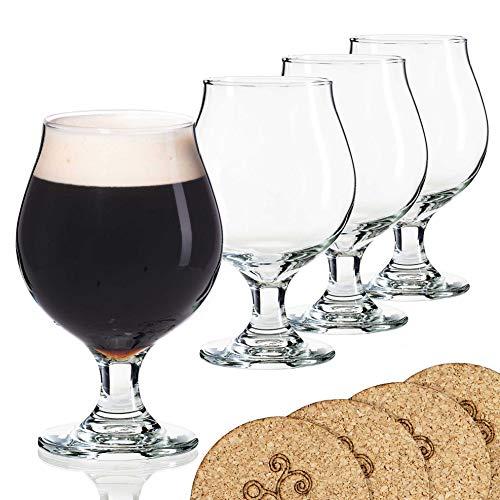 Beer Glass Belgian Style Stemmed Tulip - 16 oz Lambic Beer Glasses - set of 4 w/ coasters