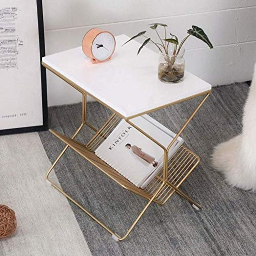 YVX Small Side Table, Small Sofa Side Table Marble Double-Decker Coffee Table, Snack, Tablet Clear,50 * 36 * 50 cm (Color : White)