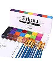 UCANBE Face Body Paint Set - Athena Painting Palette, 10 Professional Artist Brushes - Large Deep Pan,Ideal for Halloween Cosplay Party SFX Arty Stage Makeup, Non-Toxic Facepaints for Adults and Kids