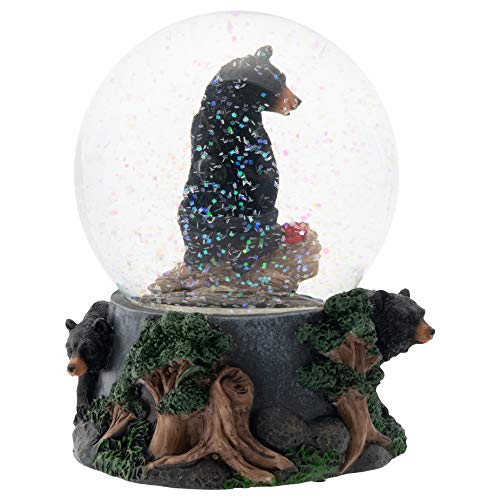 Black Bear Friend Couple 100MM Musical Water Globe Plays Tune Born Free
