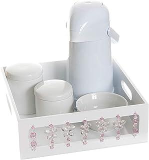 Kit Higiene Borboleta, Quarto Bebê Menina, Potinho de Mel, Branco/ Rosa