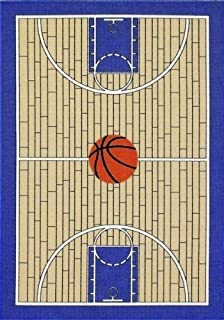 """Furnish my Place 695 Blue 4X6 Basketball Court Kids Area Rug, 4'5""""x6'9"""""""