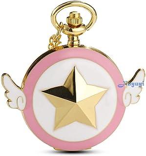 Womens Sakura Star Wings Quartz Pocket Watch with Chain + Gold Box