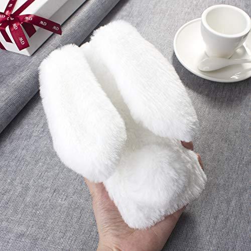 Awenroy Hase Pelz Handyhülle für Wiko Harry 2 / Tommy 3 Plus [ 3D Flauschiges Kaninchen ] Weicher & bequemer Plüschbezug Spaß schön Stoßfeste Hülle für Wiko Harry 2 / Tommy 3 Plus - Weiß