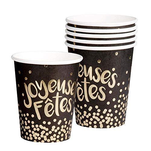 Boland 13482 Joyeuses Fêtes - Juego de 6 vasos, color negro y dorado