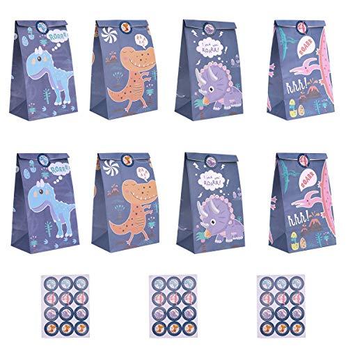 Ulikey Dinosaurier Papiertüten, 32stk Dino Geschenktüten zum Befüllen mit 32 Aufkleber, Dino Tüten Papier Geschenk Candy Tüten, Taschen für Geburtstag Hochzeit Weihnachten