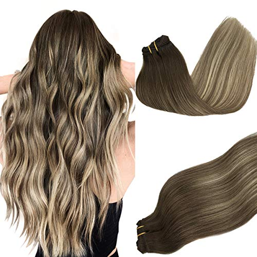 Doores Clip in Hair Extensions Ombre Walnut Brown to Ash Brown and Bleach Blonde 120g 7pcs 16 Inch Human Hair Extensions Clip in Natural Remy Hair Extensions Straight Thick