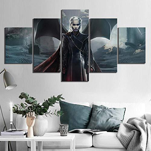 ZDDBD Póster de imágenes modulares decoración del hogar 5 Paneles Juego de Tronos Dragon Queen Daenerys Targaryen película Lienzo Pintura Impresiones Arte de Pared