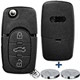 Klapp Schlüssel Gehäuse Funkschlüssel Fernbedienung Autoschlüssel 3 Tasten + 2X CR16 Batterie kompatibel mit Audi