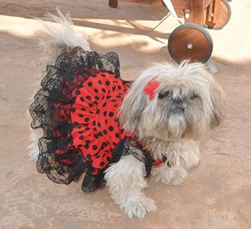 Folk Artesanía Vestido para Mascotas Flamenca o andaluza Lunares. Ideal para tu Perro. Fabricado en España (XS)