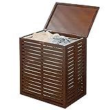 mDesign Bambus Wäschesortierer – faltbarer Wäschekorb mit herausnehmbarem Wäschesack –
