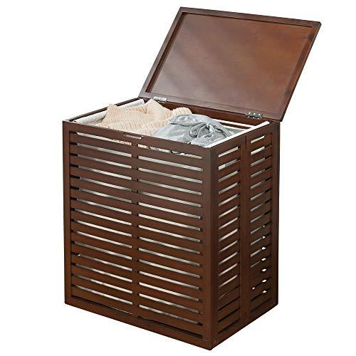 mDesign Bambus Wäschesortierer – faltbarer Wäschekorb mit herausnehmbarem Wäschesack – tragbarer Wäschesammler für das Bad oder Schlafzimmer – dunkelbraun